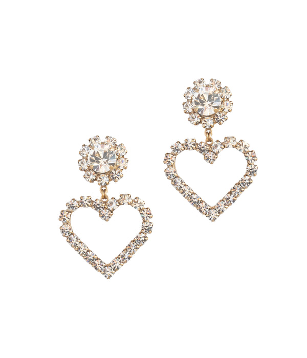 Cupid Heart Earrings in Crystal