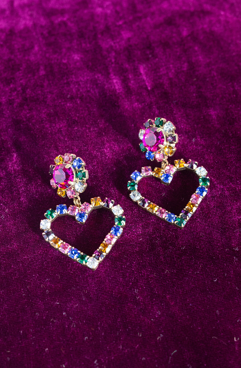 Cupid Heart Earrings in Multi