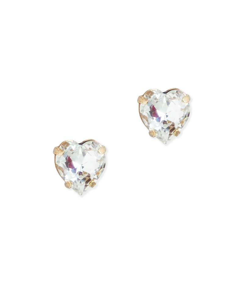 Eros Heart Studs in Crystal