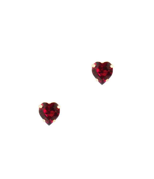 Eros Heart Studs in Ruby