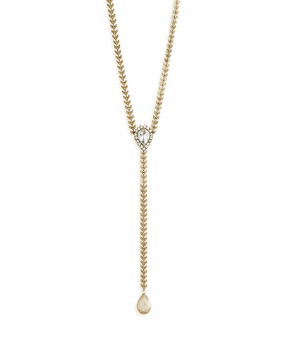 FINLEY Y NECKLACE IN GOLD CRYSTAL