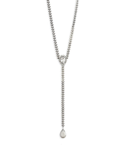 FINLEY Y NECKLACE IN SILVER CRYSTAL