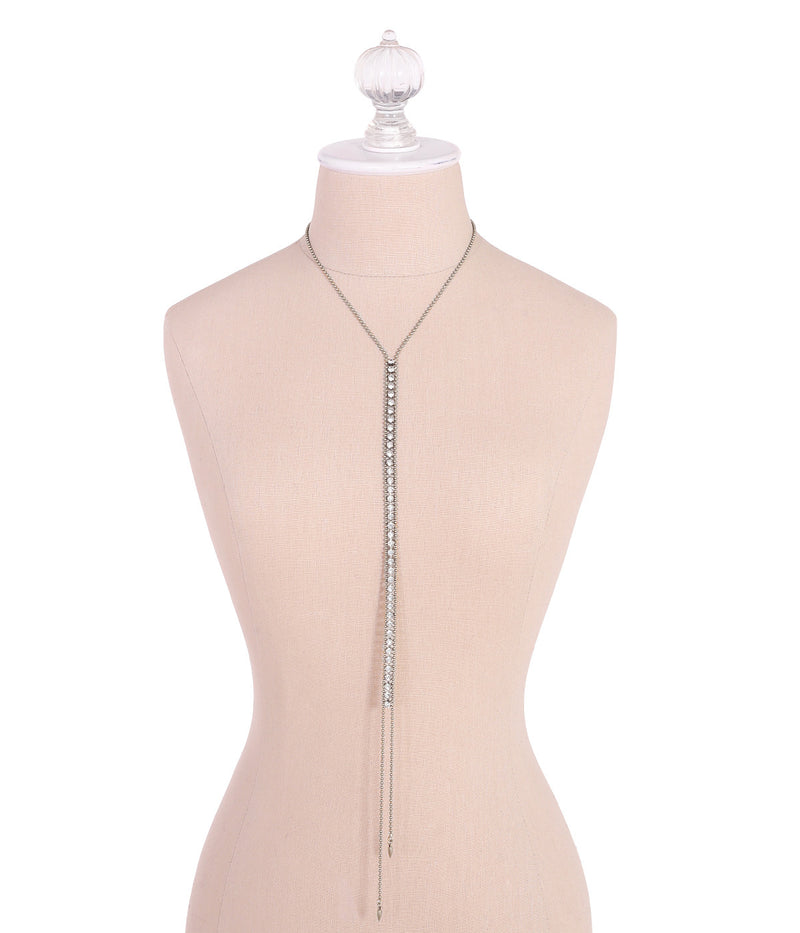 Glenn Y Necklace in Silver - Loren Hope