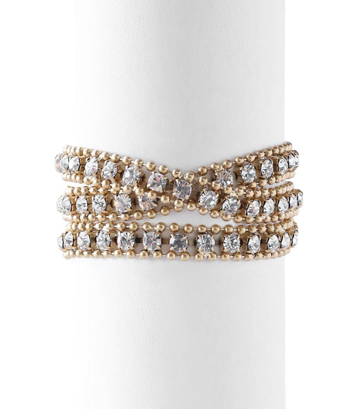 GLENN WRAP BRACELET IN GOLD CRYSTAL