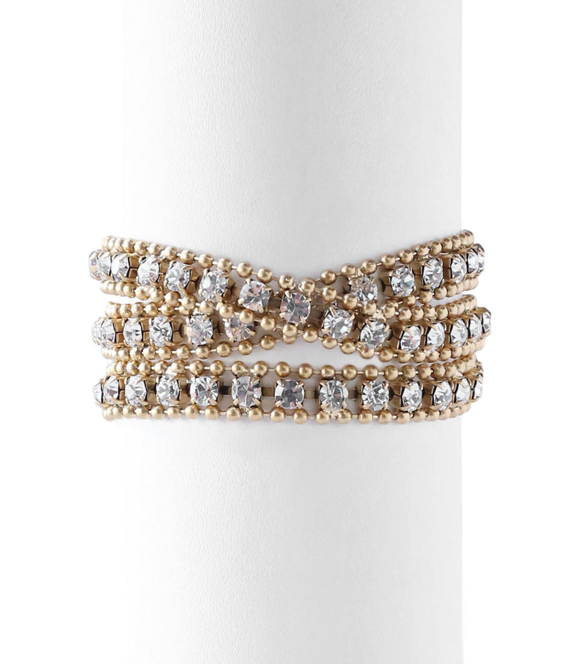 GLENN TRIPLE WRAP BRACELET IN GOLD CRYSTAL