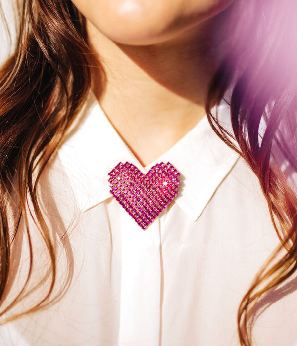 Esme Heart Pin in Fuchsia