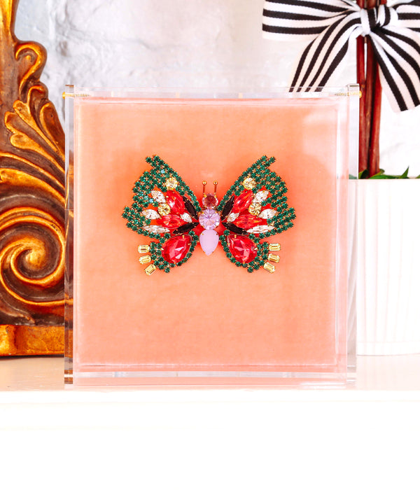 Large Butterfly in Emerald / Padparadscha / Violet
