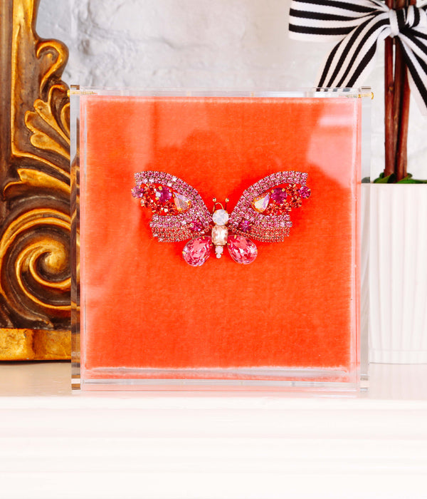 Medium Butterfly in Fuchsia / Padparadscha