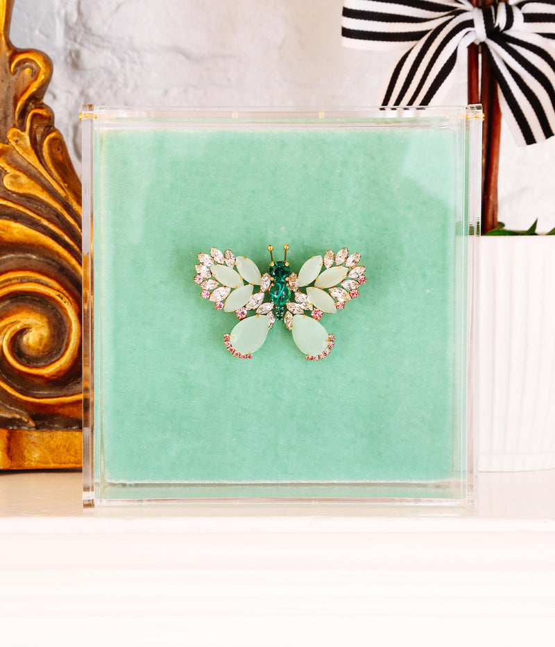 Small Butterfly in Opaline Green / Crystal / Blush