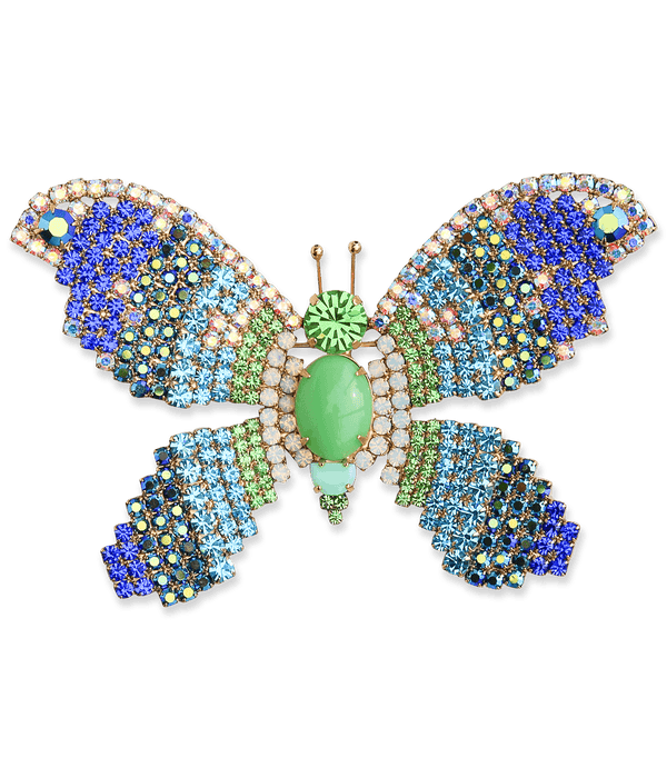 Extra Large Butterfly in Peridot / Aqua / Sapphire
