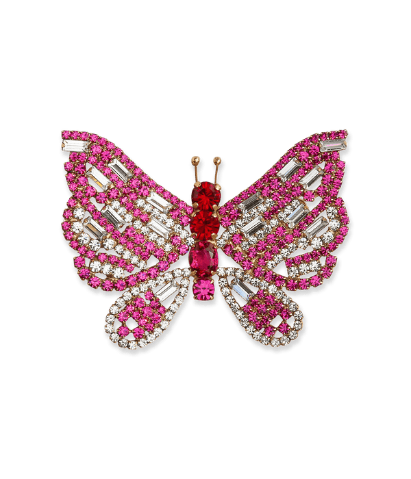 Large Butterfly in Fuchsia / Crystal