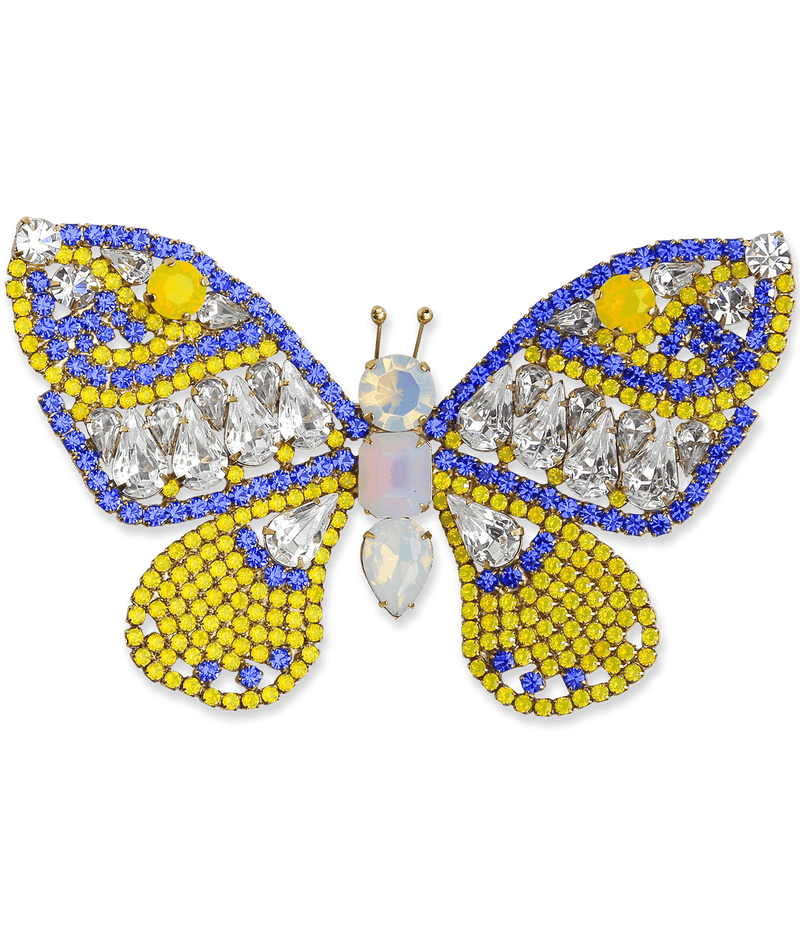 Extra Large Butterfly in Yellow Opal / Sapphire / Crystal