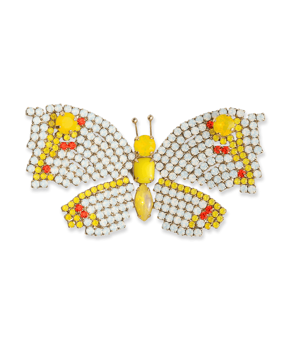 Medium Butterfly in White Opal / Yellow Opal / Hyacinth