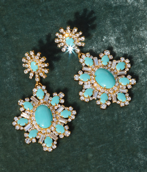 Presley Clip-on Earrings in Turquoise / Crystal