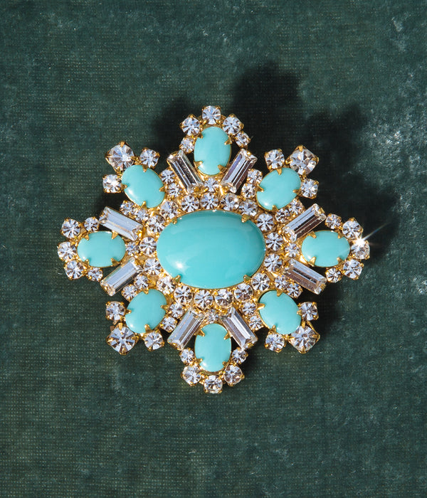 Presley Brooch in Turquoise / Crystal