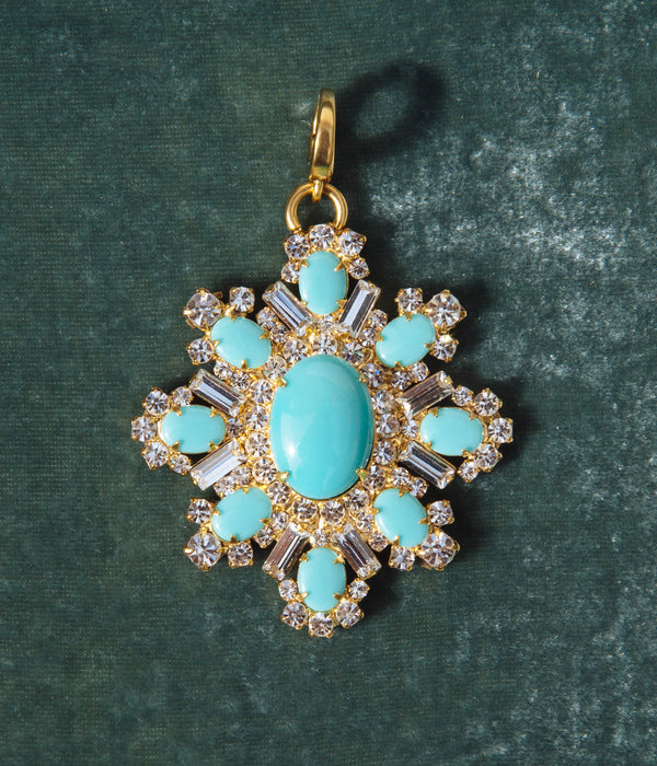 Presley Pendant in Turquoise / Crystal