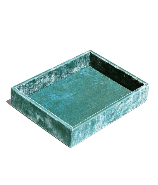 Stackable Silk Velvet Jewelry Tray in Emerald