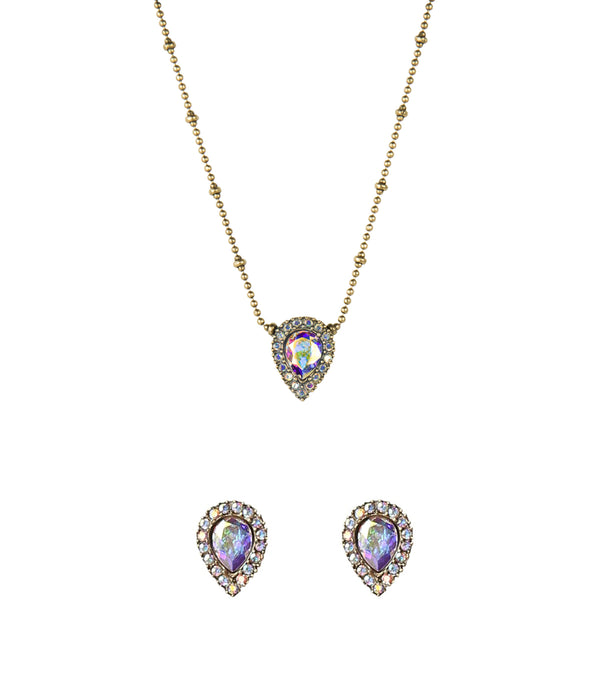 JAMIE NECKLACE + STUD SET IN IRIDESCENT