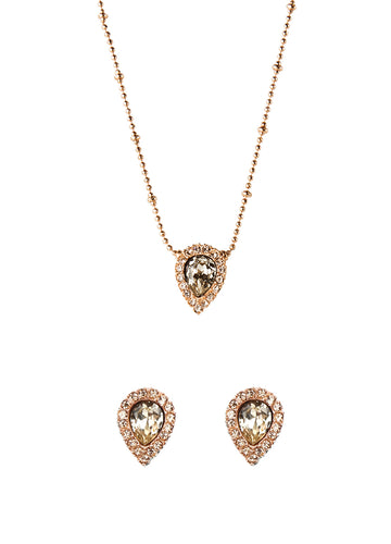 JAMIE NECKLACE + STUD SET IN ROSE GOLD