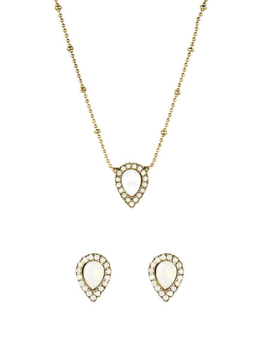 JAMIE NECKLACE + STUD SET IN WHITE OPAL