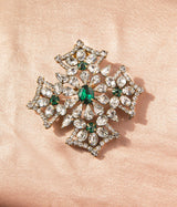 Jacqueline Convertible Brooch in Crystal / Emerald