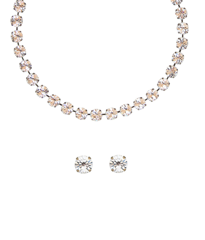 Kaylee Necklace and Earring Set in Crystal