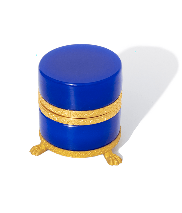 Small Round Lapis Blue Clawfoot Opaline Glass Box