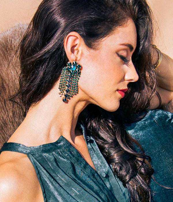 SIENA STATEMENT EARRING EMERALD