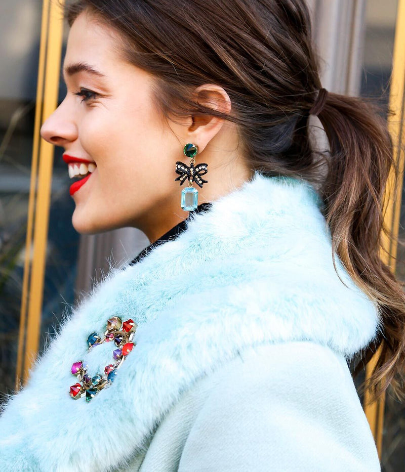 Betty Bow Earrings in Aqua / Emerald