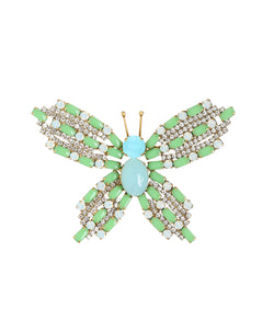 Large Butterfly in Vintage Mint / Aqua / White Opal