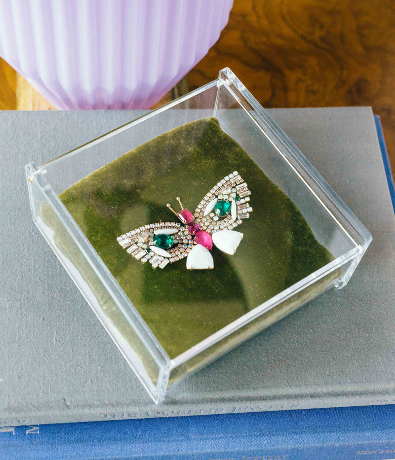 Medium Butterfly in Opaque White / Ruby / Emerald