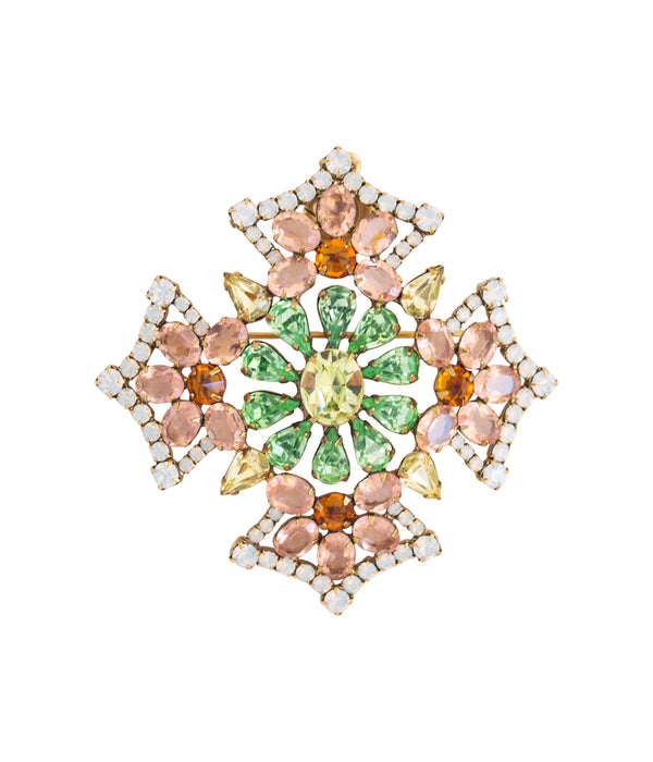 Jacqueline Brooch in Rose / Peridot