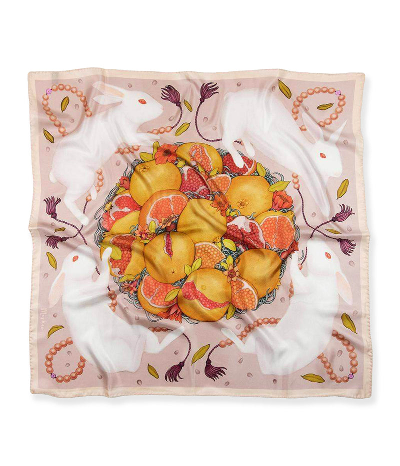 Rabbits and Pomegranates Silk Scarf