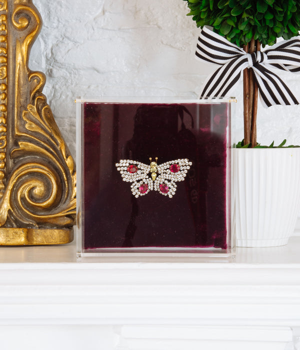 Small Butterfly in Crystal / Ruby / Jonquil