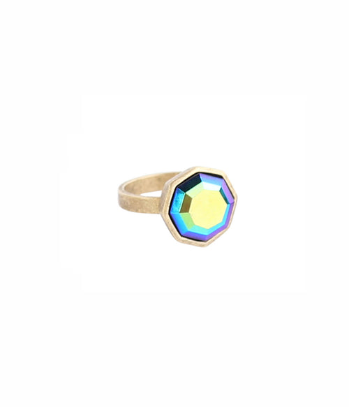 OCTAVIA RING IN JET IRIDESCENT