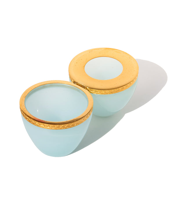 Egg Shaped Aqua Opaline Glass Box