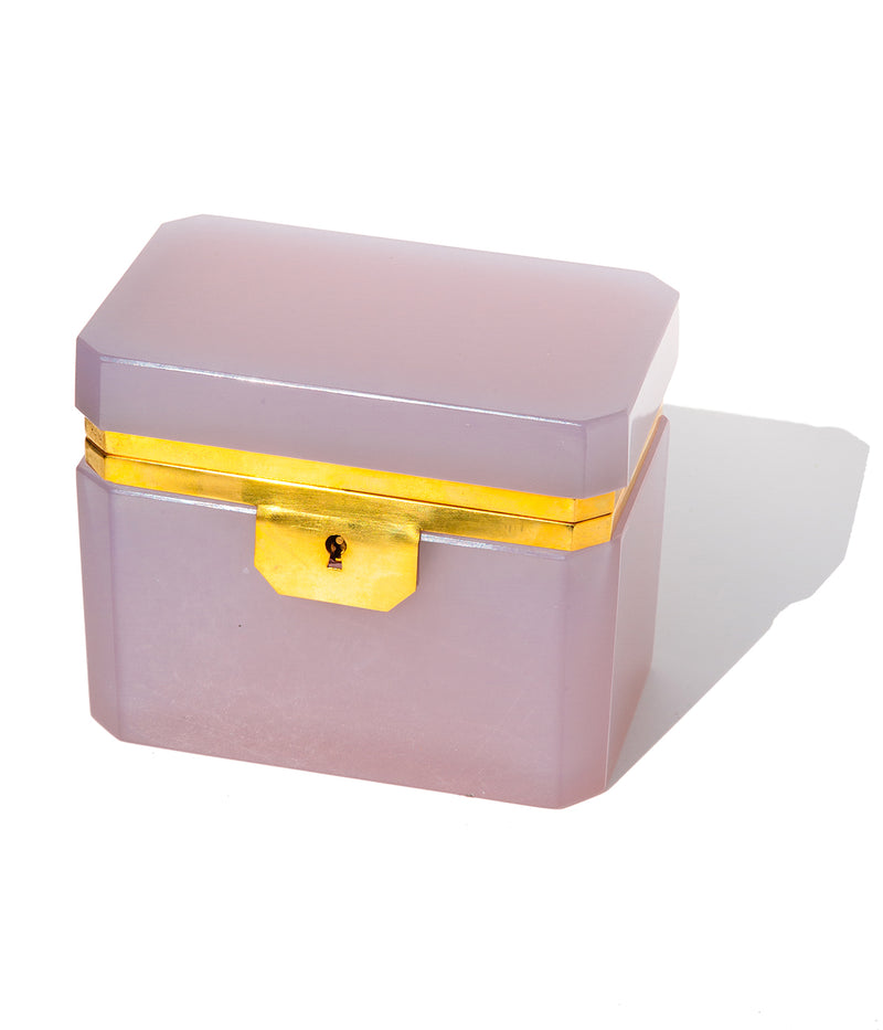 Large Rectangle Lavender Opaline Glass Box