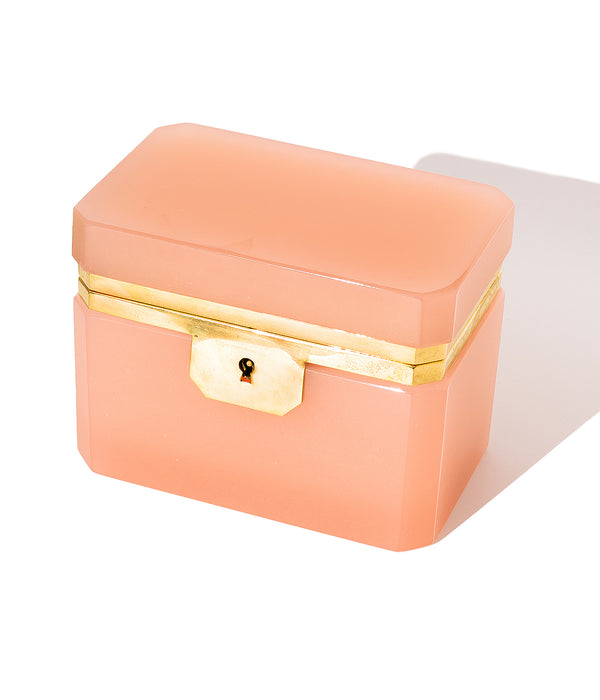 Large Rectangle Pink Opaline Glass Box