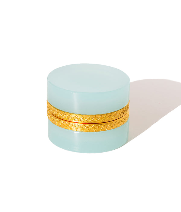 Small Round Aqua Opaline Glass Box