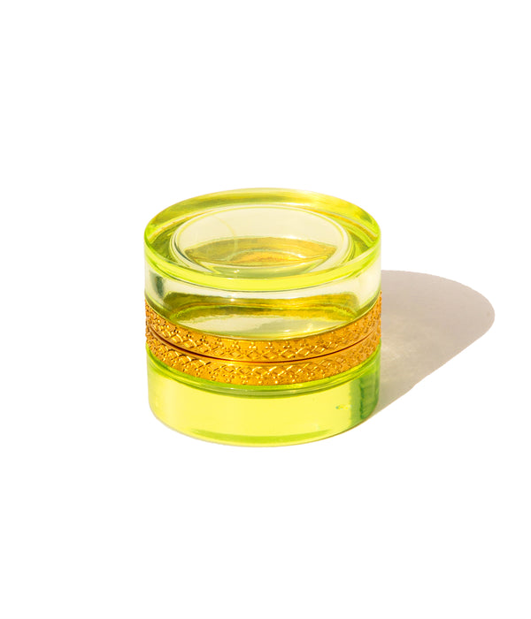 Small Round Green Vaseline Glass Box