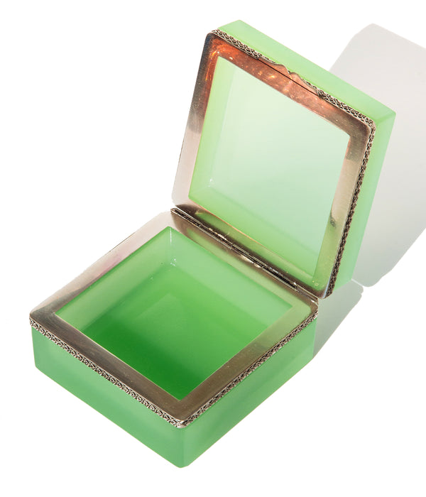 Large Square Green Opaline Glass Box