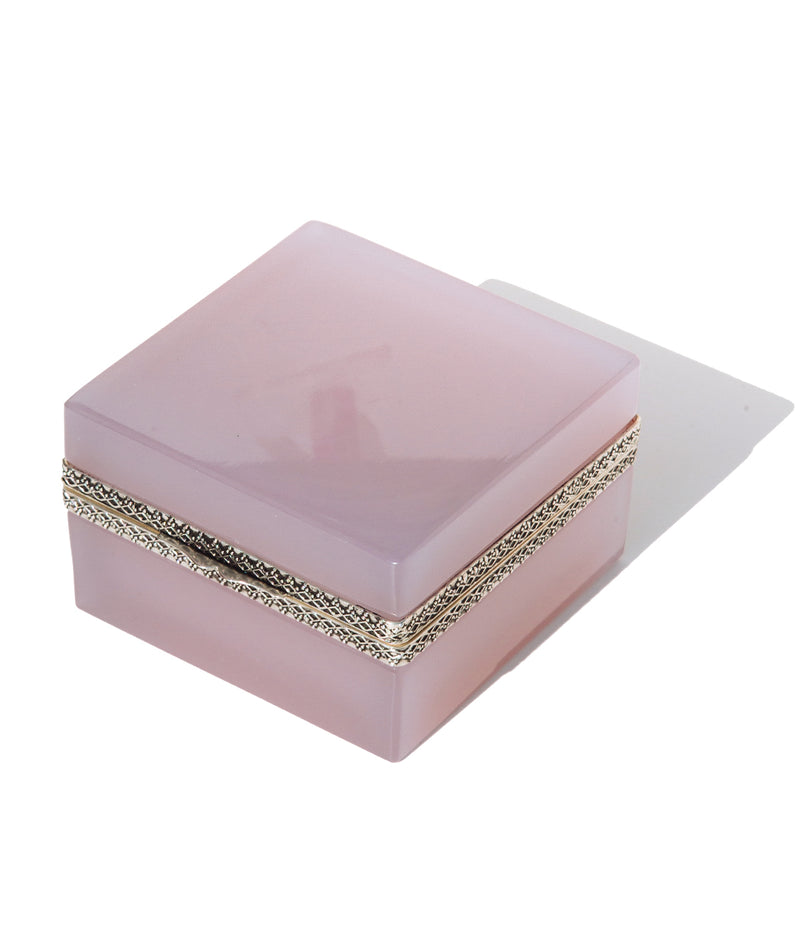 Large Square Lavender Opaline Glass Box