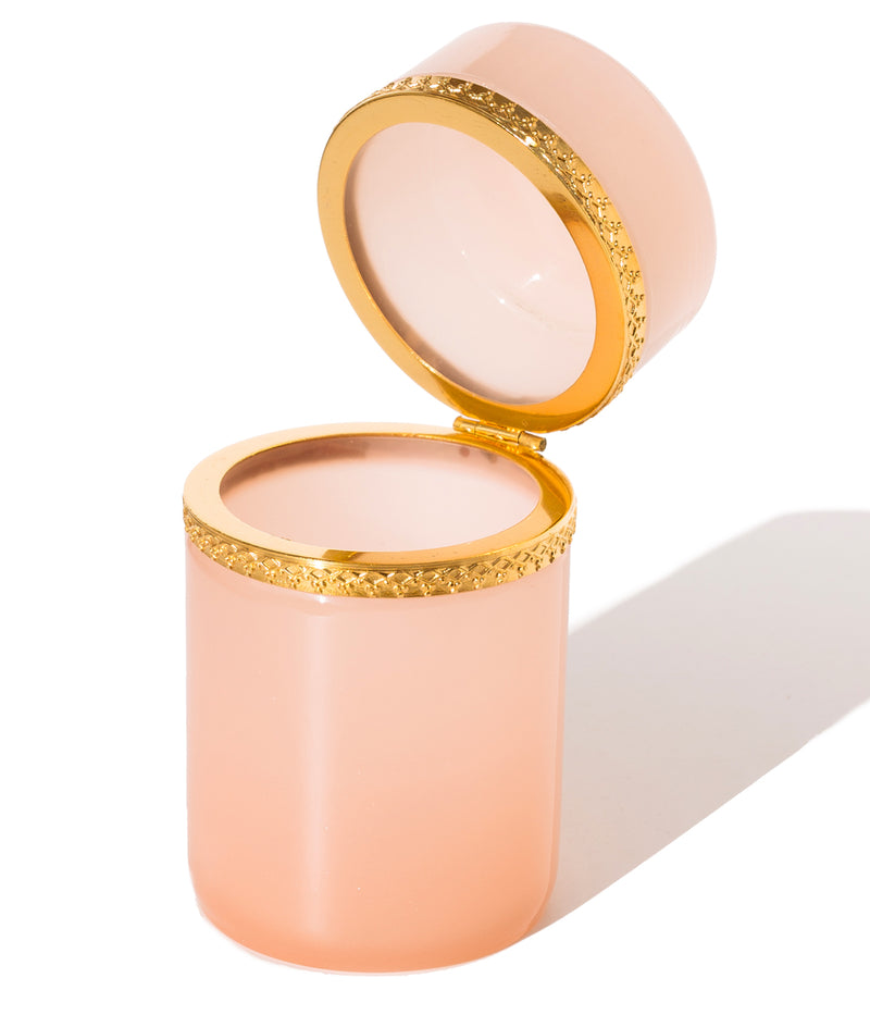 Tall Round Pink Opaline Glass Box
