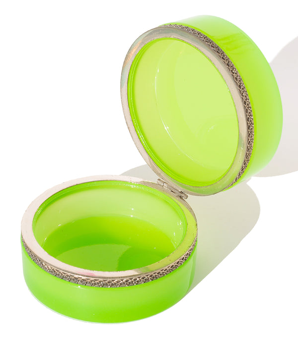 Flat Round Bright Green Opaline Glass Box