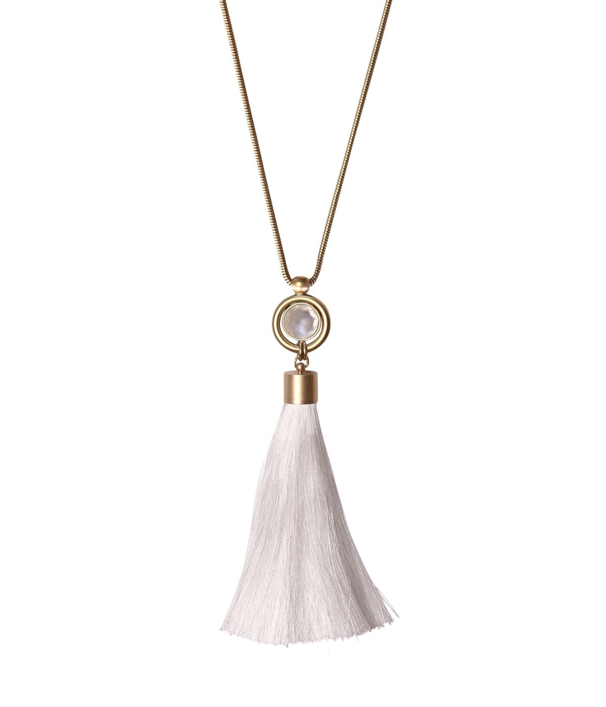 SCARLETT TASSEL NECKLACE IN WHITE