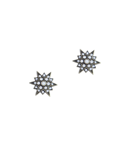 Small Starburst Studs in Gold/Crystal