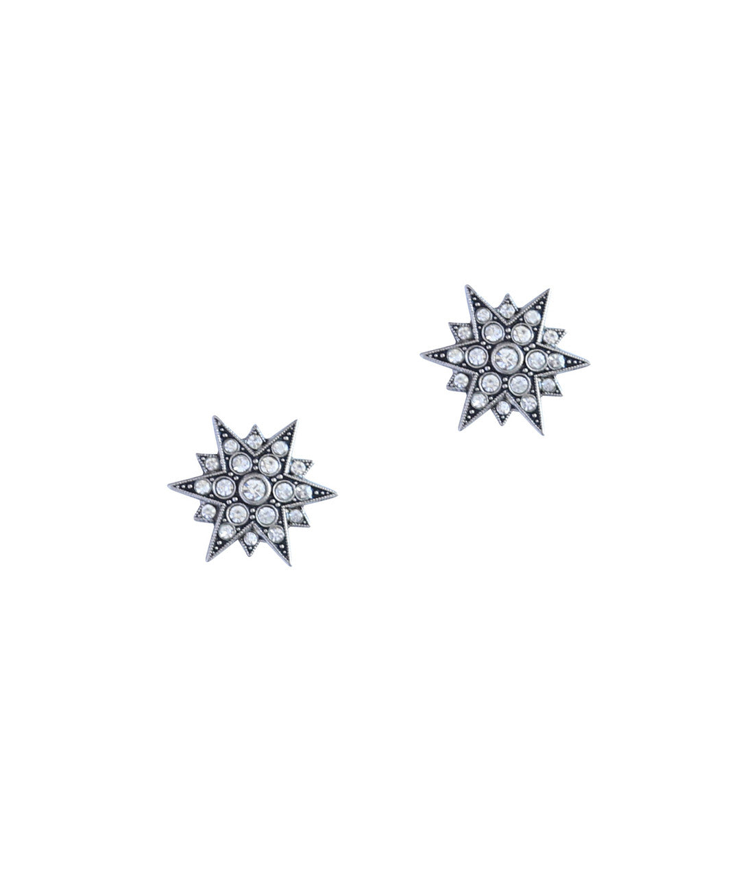 Small Starburst Studs in Silver/Crystal