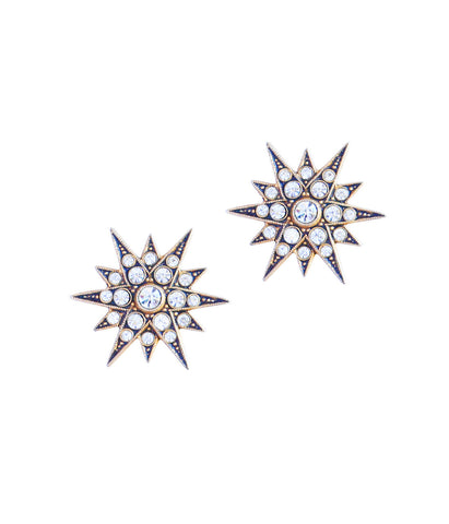 Large Starburst Studs in Gold/Crystal