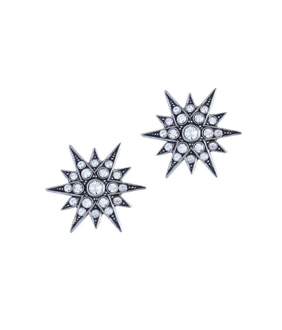 Large Starburst Studs in Silver/Crystal