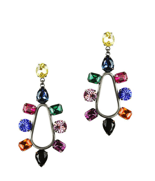 TORI STATEMENT EARRINGS IN HEMATITE